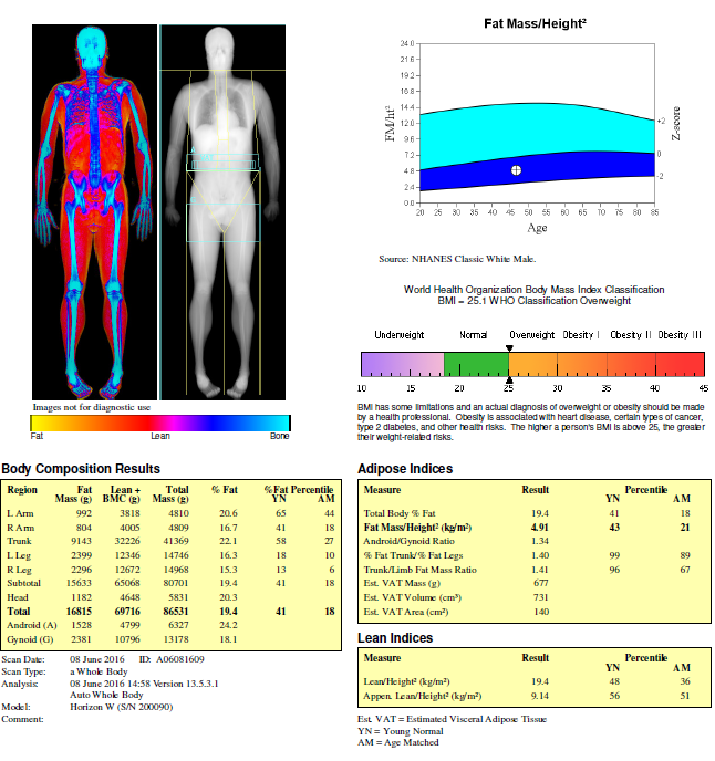 Results outlining the degree and location of muscle and fat mass