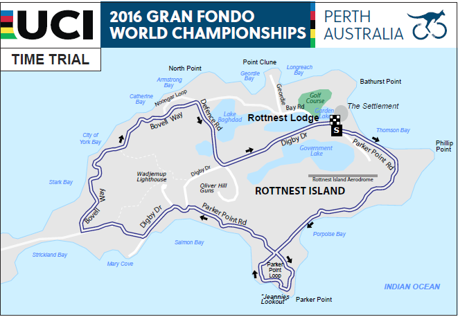 Rottnest Island course route: Time Trial